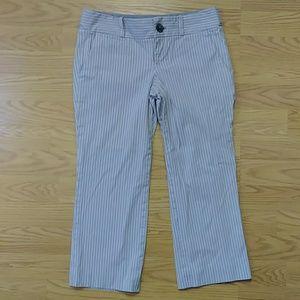 [Club Monaco] Grey Striped Cropped Capri Pants 0